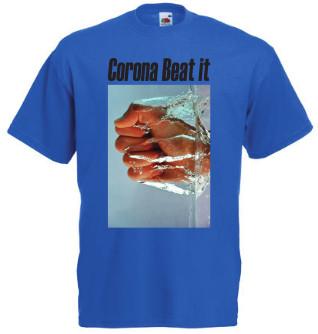 afbeelding blauw Tshirt Corona Beat it met zwarte tekst