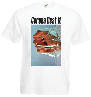 afbeelding wit Tshirt Corona Beat it met zwarte tekst