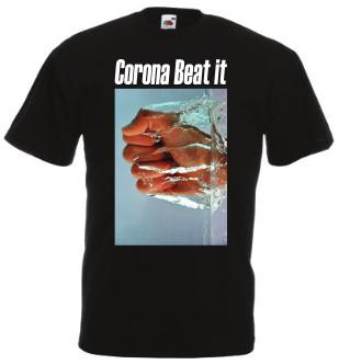 afbeelding zwart Tshirt Corona Beat it met witte tekst