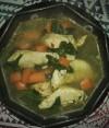 kop soep kipfilet wortelen spinazie